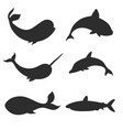 set of underwater life silhouettes with whales vector image