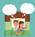 sleeping couple in bed man hugs woman dream vector image vector image
