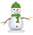 snowman with green hat and scarf vector image vector image