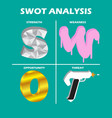 swot analysis chart quadrant vector image vector image