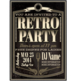 template for a retro party concert events vector image vector image