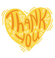 thank you card with text and heart decoration vector image