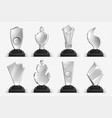 transparent trophies realistic glass crystal vector image vector image