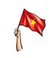 vietnam flag and hand on white background vector image vector image