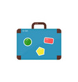 vintage old suitcase with stickers vector image vector image