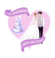 wedding background with bride and bridegroom cake vector image vector image