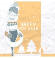 Fashion Girl in a Sweater Christmas Background vector image