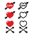Hearts with arrow love valentines icons set vector image