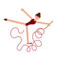 abstract figure of a girl with a red ribbon vector image