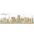 Abstract Wellington skyline with color buildings vector image vector image