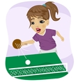 Action shot of teenager girl playing table tennis vector image