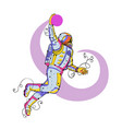 astronaut dunking ball doodle vector image vector image