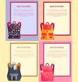 back to school banner with text backpacks set vector image vector image