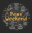 black best weekend in mountains concept vector image vector image