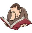 book reader cartoon vector image vector image