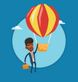 businessman hanging on balloon vector image vector image