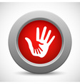 Caring hands red button vector image vector image