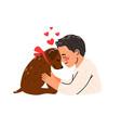 cartoon young man hugging dog vector image vector image
