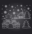 chalkboard drawing card of winter house vector image vector image