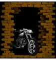 chopper motorbike in breaking the brick wall vector image