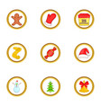 christmas party icons set cartoon style vector image