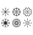 Christmas - Set of black snowflakes icon vector image vector image