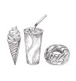 cola paper cup dessert monochrome sketch vector image