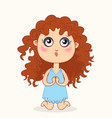 cute bagirl praying on his knees vector image vector image