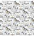 doodle cats seamless pattern hand drawn cartoon vector image vector image