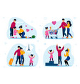 family support vacation leisure flat set vector image vector image