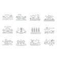 farm and farming fields thin line icons isolated vector image vector image