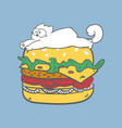fat lazy white cat lying on burger vector image