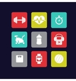 Fitness icons white vector image