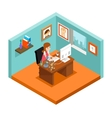 Freelancer at work Isometric 3d freelance woman vector image vector image