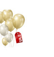 gold and silver balloons on white background vector image vector image