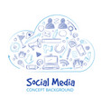 hand drawn social media networking doodle sketch vector image vector image