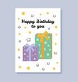 happy birthday to you postcard vector image vector image