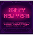 happy new year holiday bright neon alphabet vector image vector image