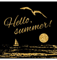 Hello summer Typography background sail vector image vector image