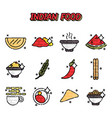 indian food cartoon concept icons vector image vector image