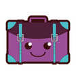 line color happy travel backpack kawaii cartoon vector image vector image