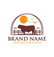logo design angus cow on grass and sun vector image vector image