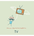 man flying with TV vector image vector image