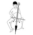 music lessons cello player student line icon vector image