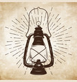 oil lantern or kerosene lamp with rays of light vector image