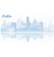 outline austin skyline with blue buildings and vector image vector image