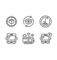 parcel tracking bus travel and 48 hours icons set vector image vector image