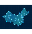 pixel China map with spot lights vector image vector image