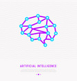 polygonal brain line icon artificial intelligence vector image