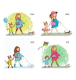 Pregnant woman girl and dog vector image vector image
